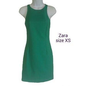 Zara Basic Racer Back Mini Dress Green Lined Sz XS